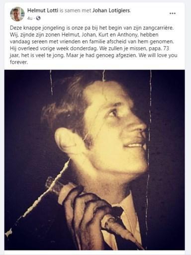 Lotti bracht hulde aan zijn vader en diens zangcarrière in een Facebookpost.