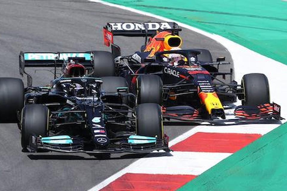 Lewis Hamilton en Max Verstappen