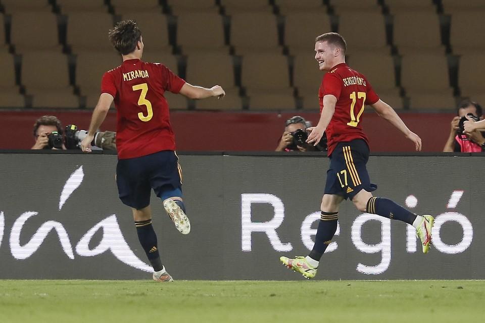 Anderlecht-speler Sergio Gomez scoorde met de Spaanse beloften een doelpunt voor de galerij.