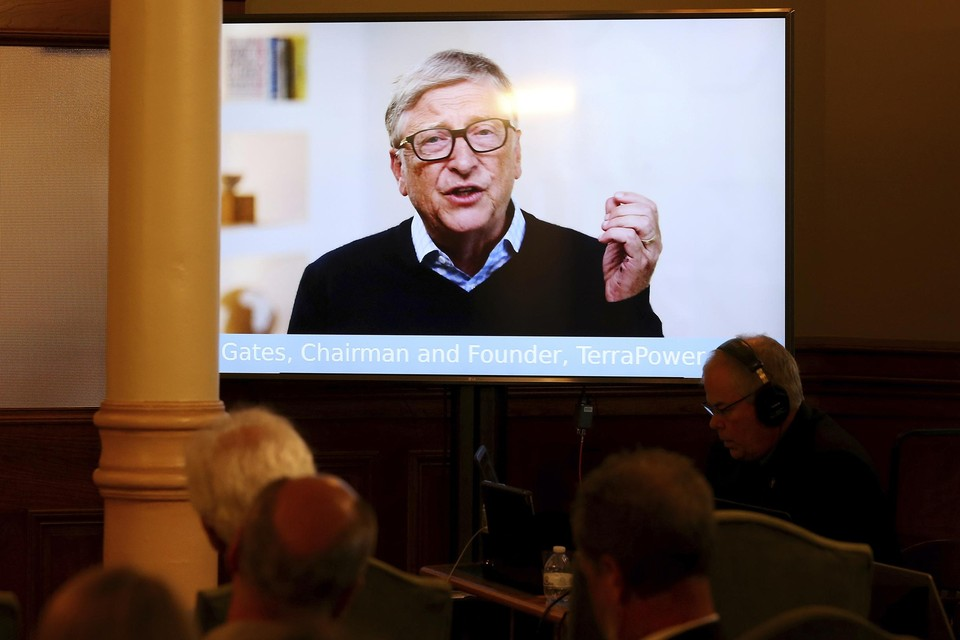 Bill Gates tijdens de digitale persconferentie in Wyoming