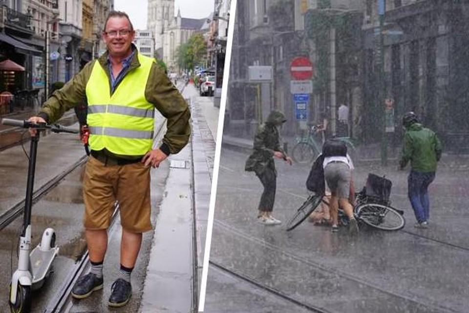 Benny D'Haeseleer (57) hield een blijvende invaliditeit over aan zijn val (links) Donderdag viel opnieuw een fietser op de tramsporen aan het Lippensplein (rechts)