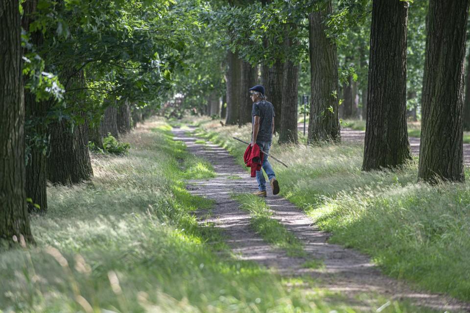 Een wandelaar geniet van de natuur in Wortel-Kolonie.