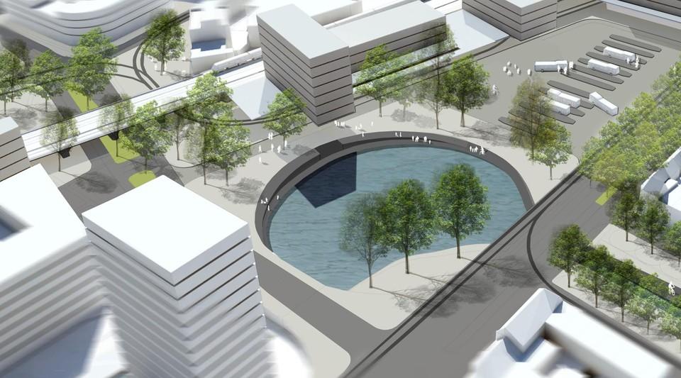 Gedetailleerde plannen bestaan nog niet, maar zo zou Dampoort er kunnen uitzien eens er een tunnel is: een autoluw verkeersplein rond de zwaaikom.