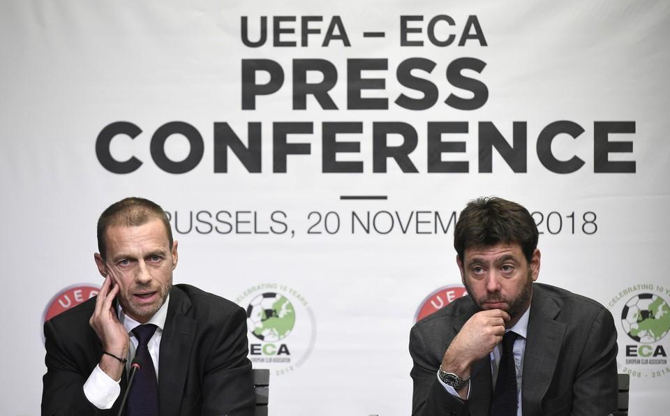 UEFA-voorzitter Aleksander Ceferin (links) naast Andrea Agnelli, voorzitter van Juventus.
