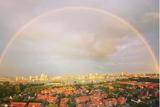thumbnail: De regenboog op woensdagavond omlijst het centrum van Antwerpen.