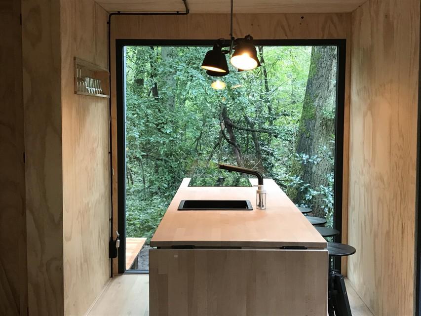 De keuken in de cabin.