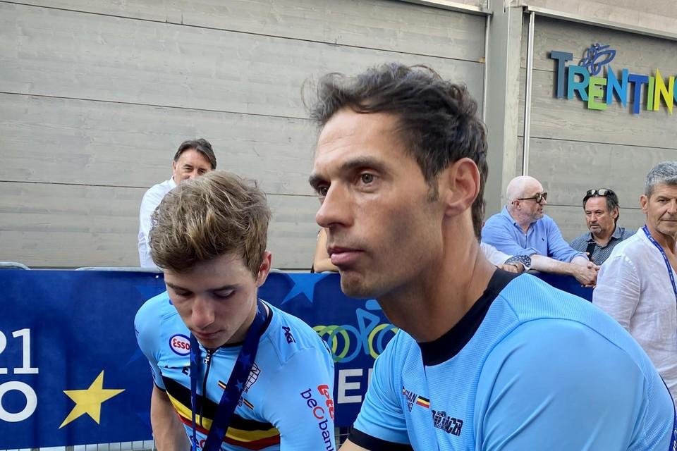 Remco Evenepoel en bondscoach Sven Vanthourenhout.