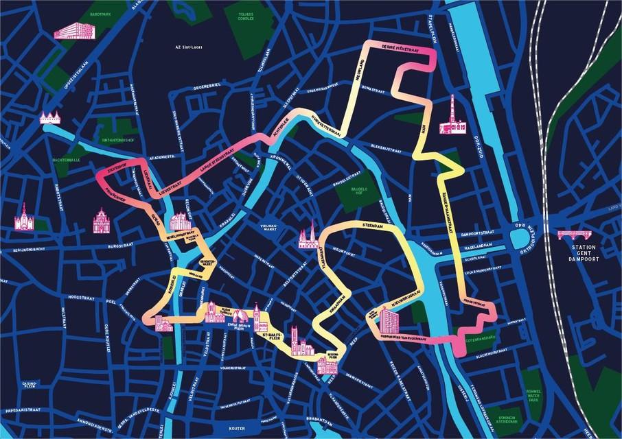 Het parcours loopt van in het centrum naar de Ham en de Lievekaai.