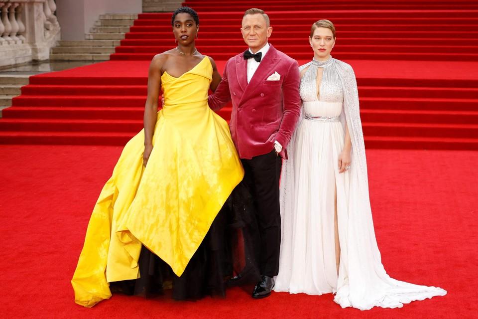 De sterren van de film: Lashana Lynch, Daniel Craig en Lea Seydoux