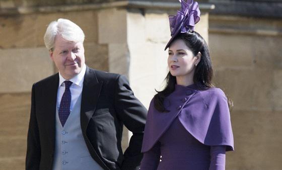 Charles Spencer en zijn vrouw op het huwelijk van Harry en Meghan.
