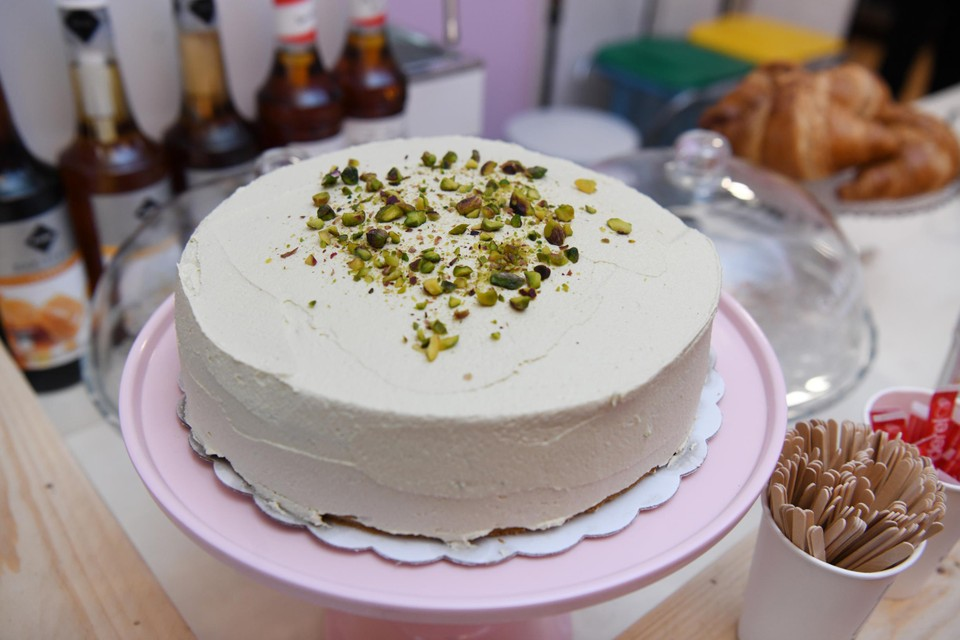 Laura's homemade pistachio cake.