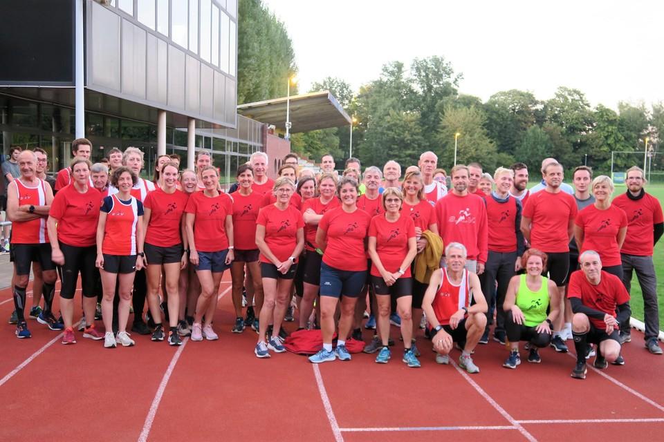 Een deel van de leden van de bloeiende en nu precies vijftigjarige Schotense Atletiekvereniging.