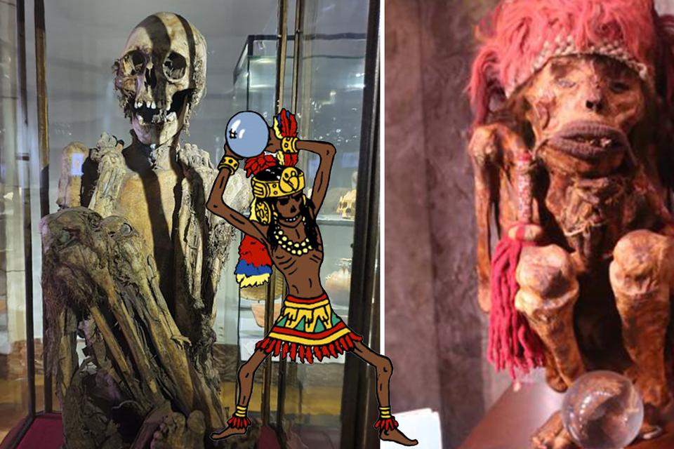 De mummie van het Museum Kunst & Geschiedenis (links) zou meer op  mummie Rascar Capac (midden) lijken dan de mummie van Pairi Daiza (rechts).