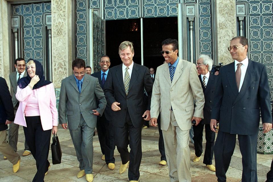 Twee dagen voor : toen nog prins Filip op missie in Marokko, met onder meer staatssecretaris Annemie Neyts (links).