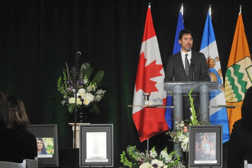 Canadees premier Justin Trudeau op een herdenkingsplechtigheid voor de slachtoffers.
