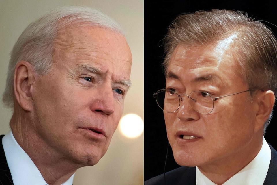 De ontmoeting tussen Joe Biden en Moon Jae-in moet de goede relatie tussen de VS en Zuid-Korea onderstrepen.