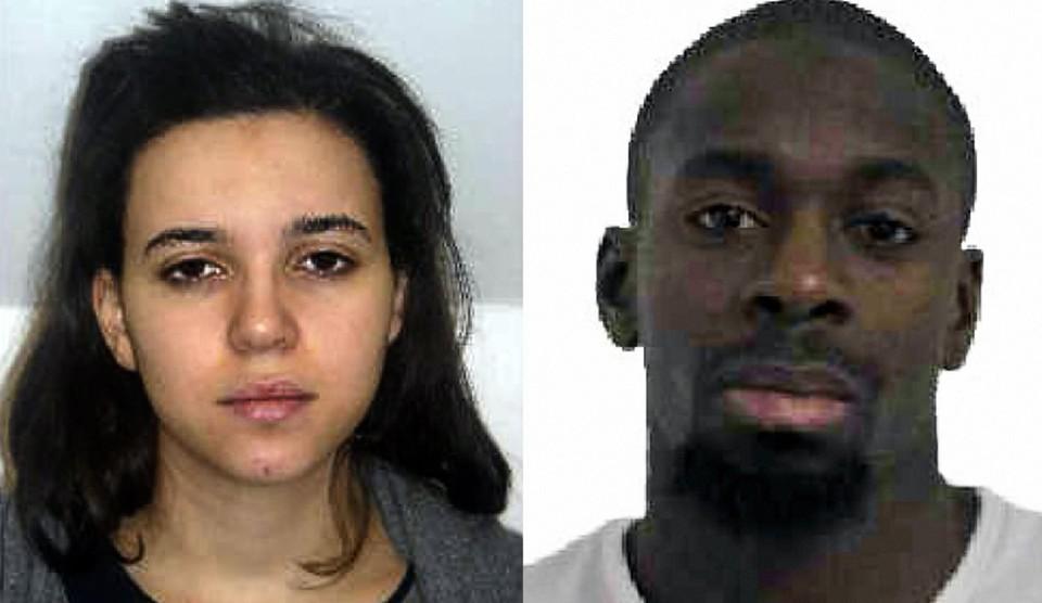 Hayat Boumeddiene (links), de vriendin van aanslagpleger Amédy Coulibaly (rechts).
