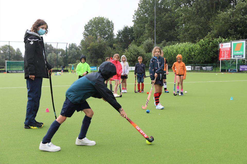 Some children are introduced to hockey for the first time during the summer internship of KMTHC.