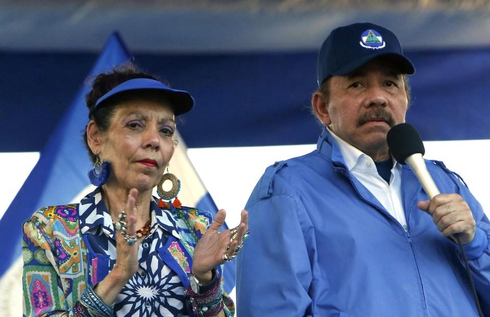 Daniel Ortega en zijn vrouw in 2018