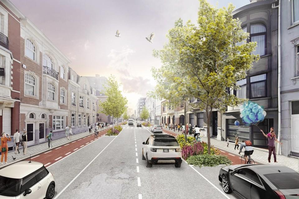 In de Leopoldstraat voert de stad tweerichtingsverkeer in en komen er aan beide zijden fietspaden.