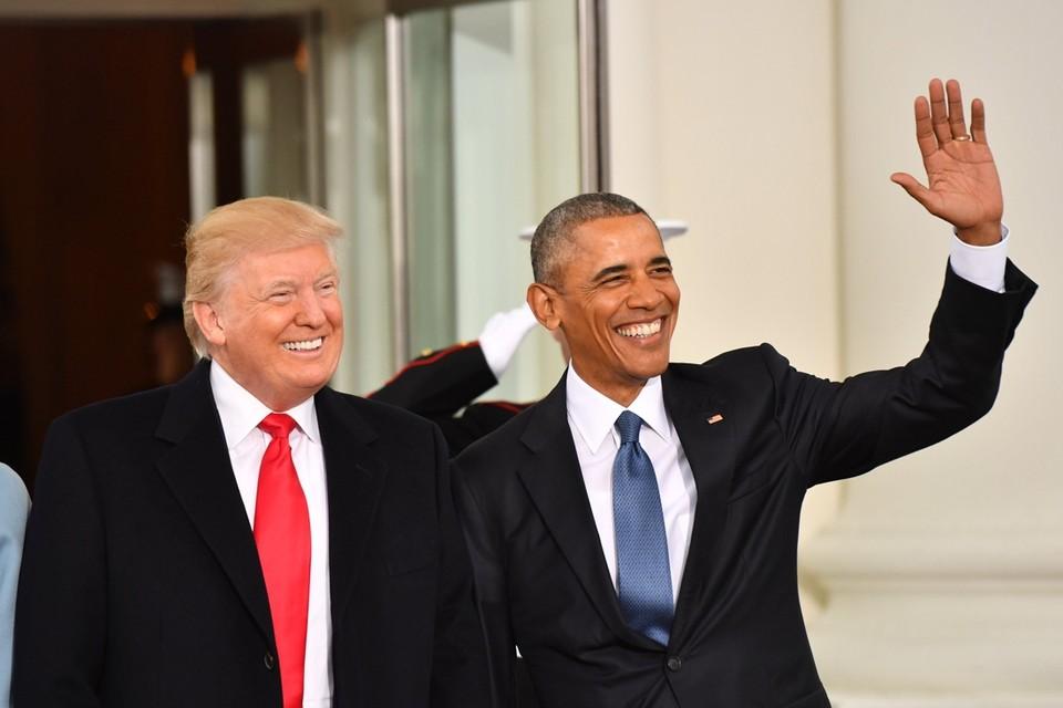 Donald Trump en Barack Obama, broederlijk naast elkaar op de dag dat Trump werd ingezworen als president.