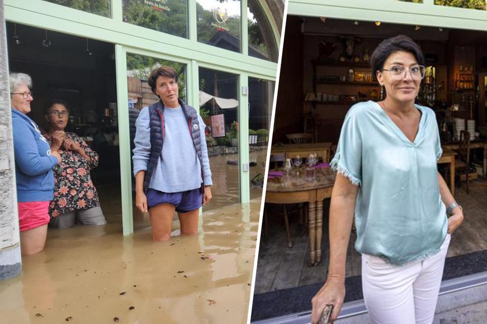 Fabienne haar restaurant stond vorige week nog onder water, vandaag is ze weer open.