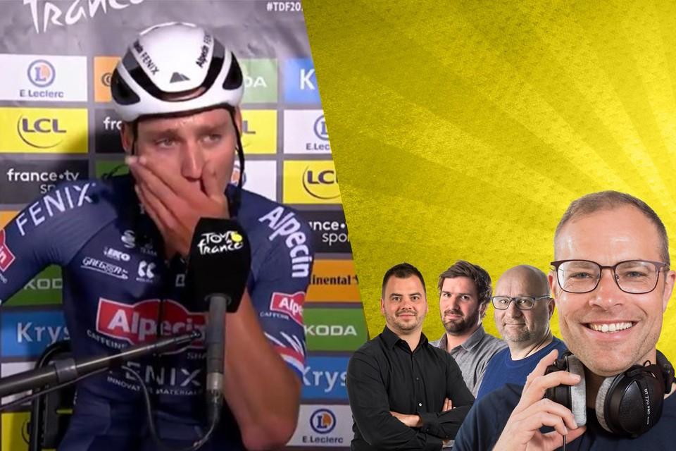 Mathieu van der Poel is met zijn gedachten bij zijn grootvader Raymond Poulidor en laat zijn tranen de vrije loop.