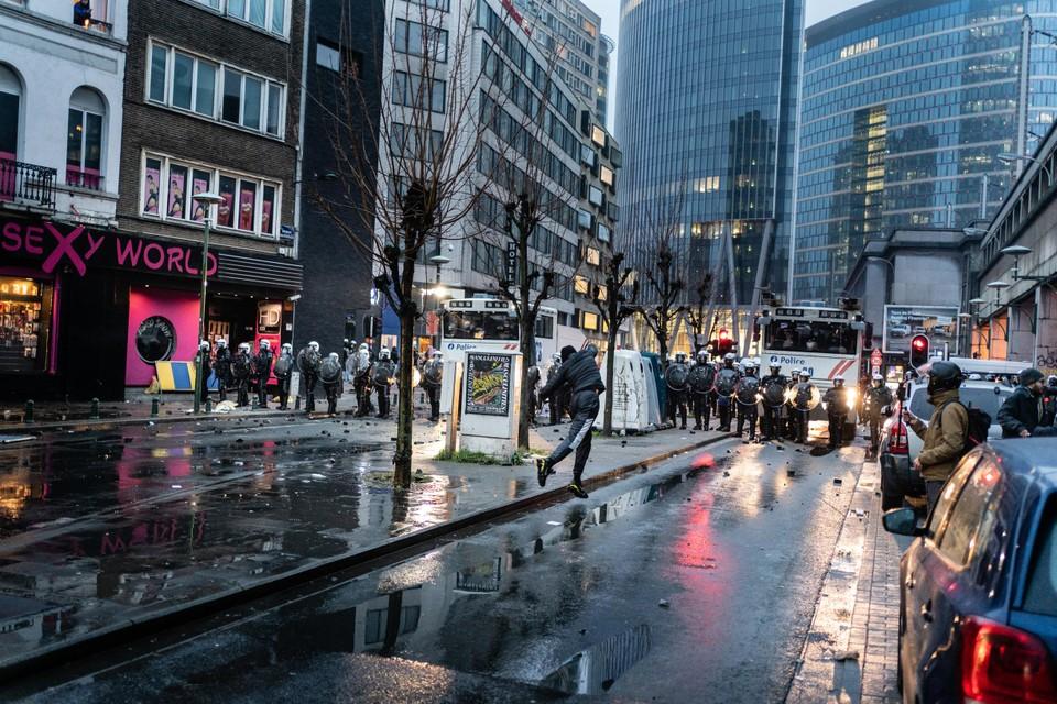 Tijdens de betoging in Brussel werden meer dan 230 mensen opgepakt.