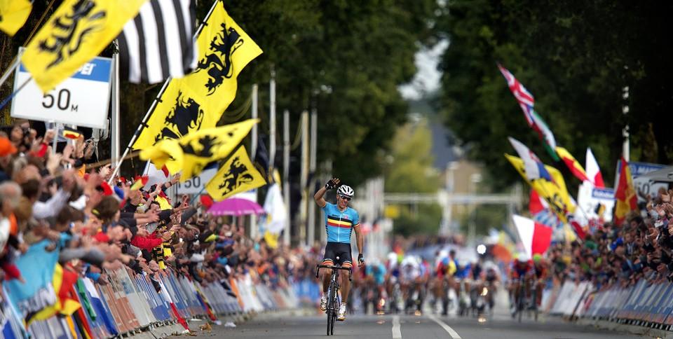 De aankomst van de laatste Belgische wereldkampioen: Philippe Gilbert in Valkenburg 2012