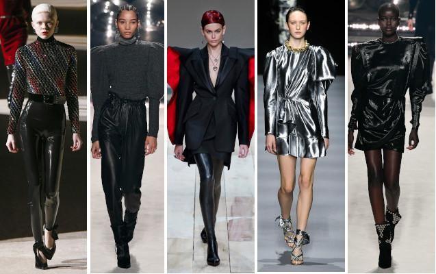 Vlnr: Saint Laurent, Isabel Marant, Alexander McQueen, Alberta Ferretti en Isabel Marant