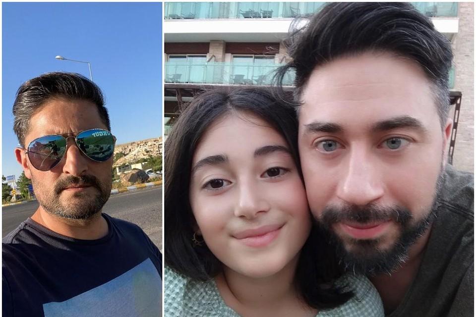 Links: Hayrettin Sener. Rechts Yakup Yardimci met zijn dochter Zehra.