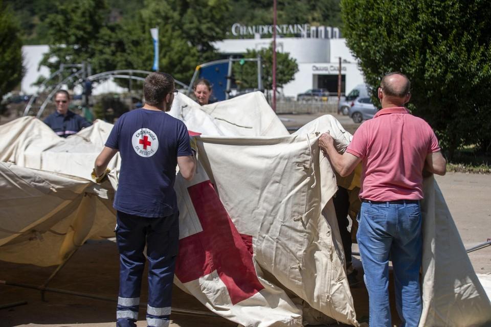 Het Rode Kruis aan het werk in Chaudfontaine.