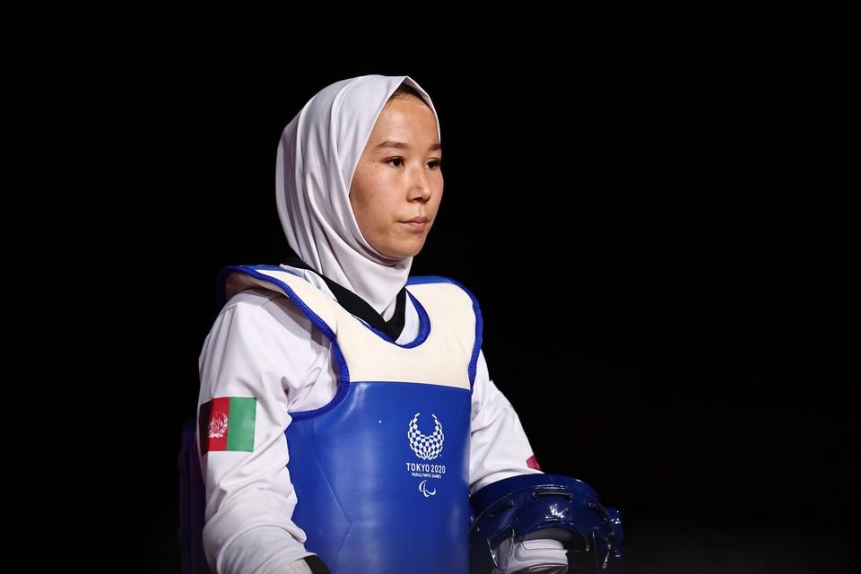 Zakia Khudadadi nam voor Afghanistan deel aan de Paralympische Spelen in het taekwondo.