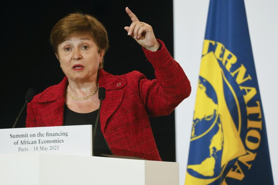 """Archiefbeeld Kristalina Georgieva. De IMF-topvrouw omschrijft het noodbedrag als """"een prik in de arm voor de wereld""""."""
