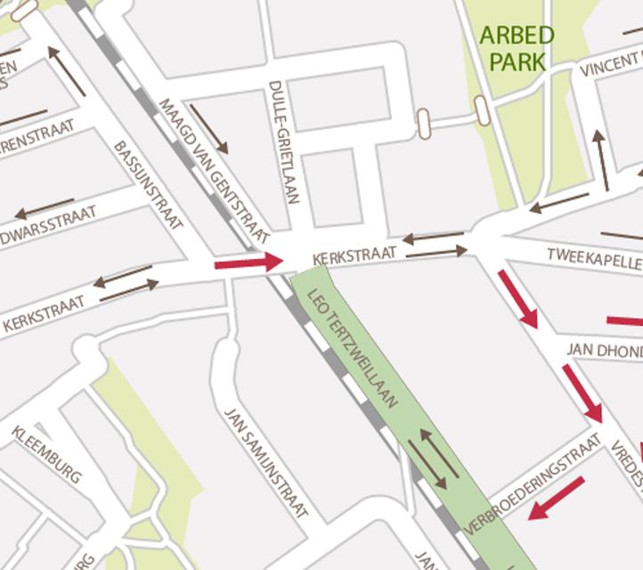 De Kerkstraat krijgt een stukje eenrichtingsverkeer ter hoogte van de sporen.