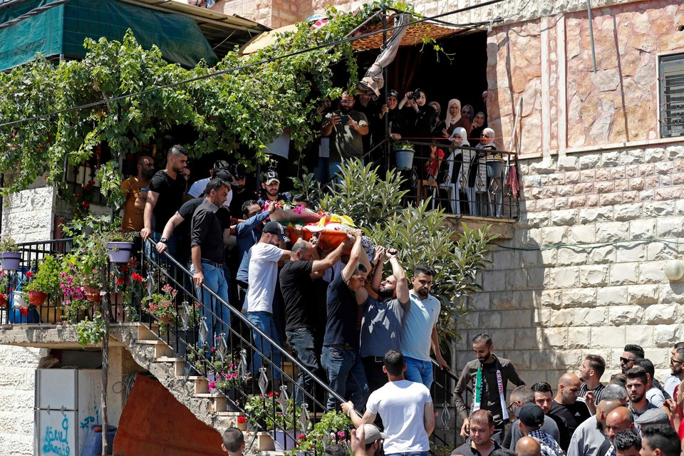 Begrafenis van de Palestijnse jongen in Beit Omar
