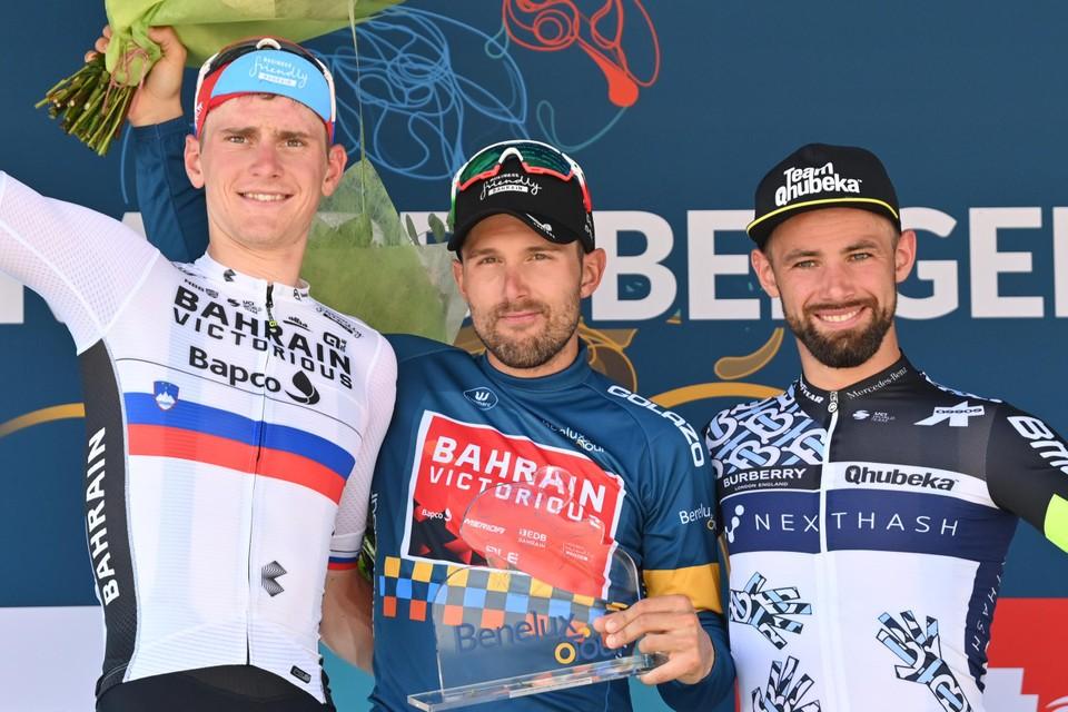 Het eindpodium van deze Benelux Tour (vlnr.): Matej Mohoric, Sonny Colbrelli, Victor Campenaerts.