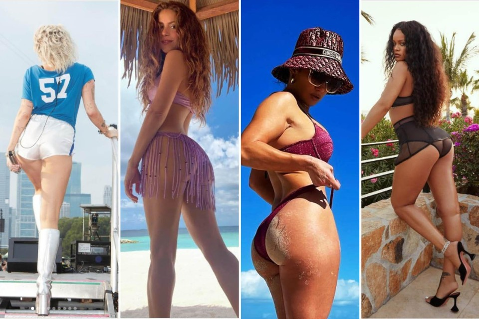 Van links naar rechts: ben jij billenbestie met Miley Cyrus, Shakira, Jennifer Lopez of toch eerder Rihanna?