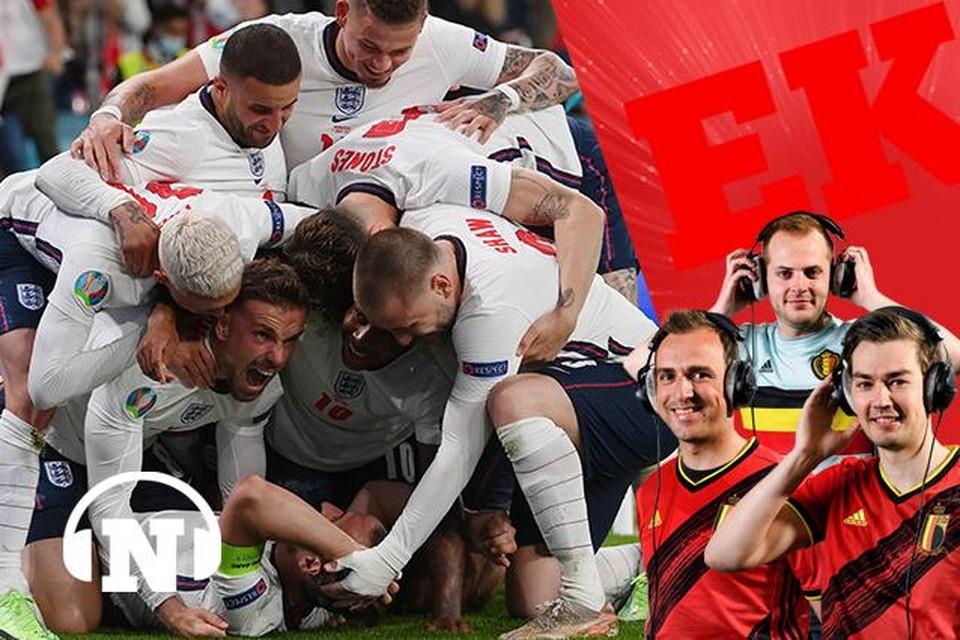 Kane wordt bedolven onder zijn ploegmakkers. Als je het bij Engeland iemand gunt, dan is het de spelersgroep wel.