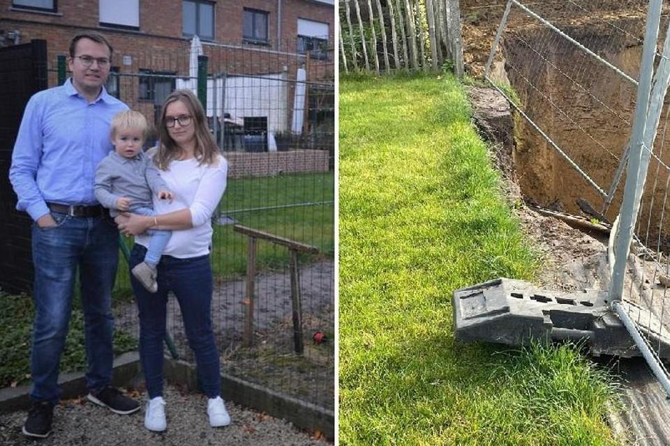 Robbe, hun zoontje Finn en Amber vrezen dat hun tuin nog verder zal wegzakken.