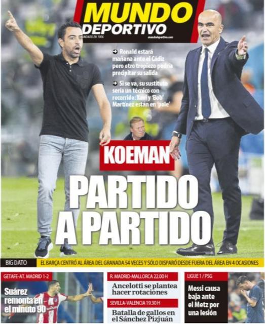 Xavi en Martinez delen de voorpagina van de Spaanse krant Mundo Deportivo.