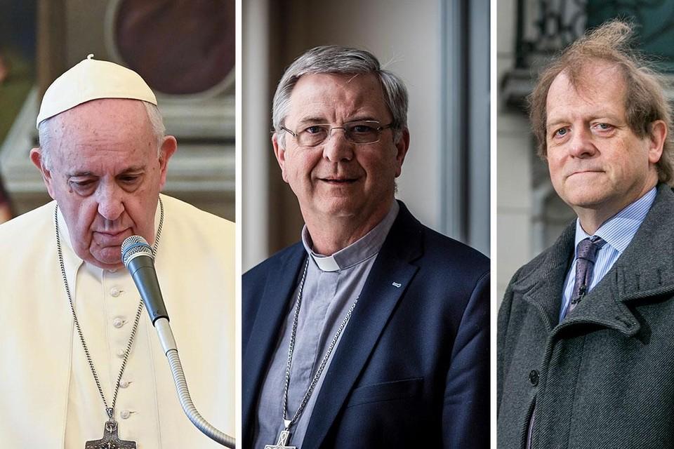 Van links naar rechts: Paus Franciscus, bisschop Johan Bonny en kerkjurist Rik Torfs.