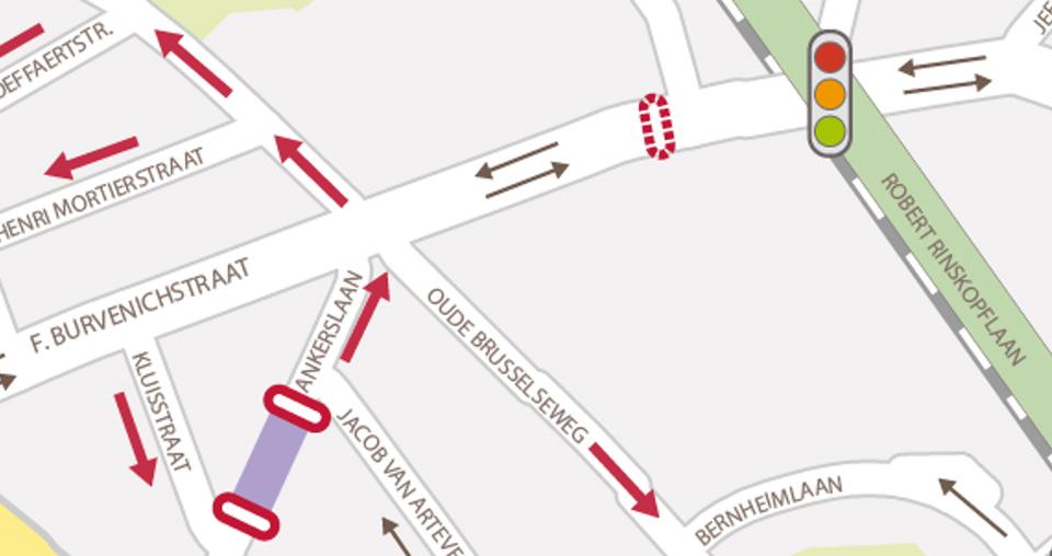 De Burvenichstraat krijgt geen knip, maar wel een knip voor vrachtverkeer. Hoe dat in de praktijk zal lopen, is nog niet duidelijk. De Ankerslaan krijgt een harde knip voor autoverkeer.