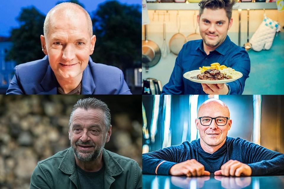 Van linksboven van rechtsonder: Karl Vannieuwkerke, Jeroen Meus, Tom Waes en Philippe Geubels.