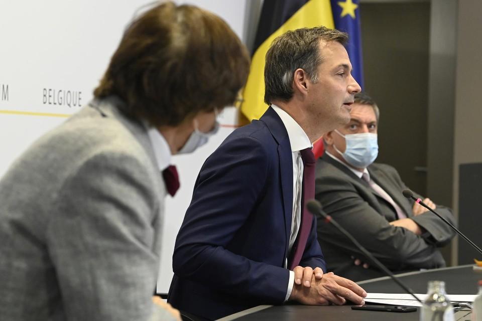 Premier De Croo op de persconferentie na het Overlegcomité vorige maand.