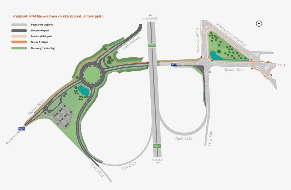 De nieuwe grote rotonde moet de kruispunten van de Nieuwe Baan met de Heikantstraat verbinden met de op- en afrit naar de E313.