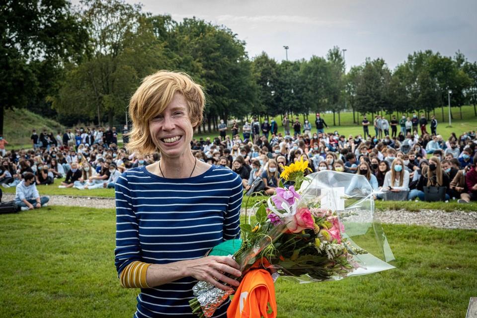 Mieke Gorissen werd maandag gehuldigd op het Demerstrand.