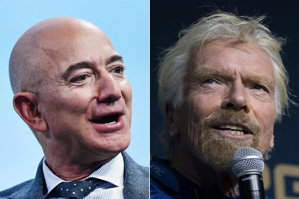 Miljardairs Jeff Bezos (links) en Richard Branson (rechts) willen beiden persoonlijk de ruimte in.