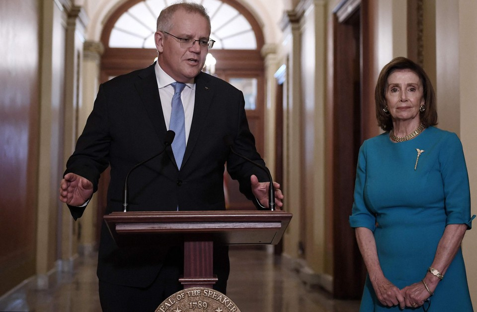 Australisch premier Scott Morrison ontmoette in Washington onder anderen voorzitter van het Huis van Afgevaardigden Nancy Pelosi.
