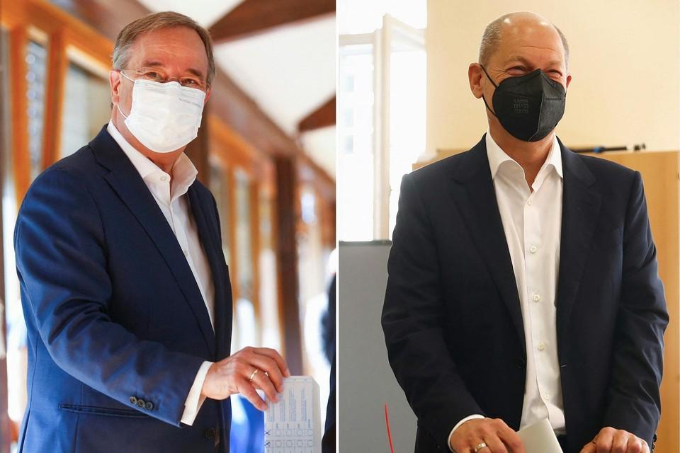 Armin Laschet en Olaf Scholz houden gelijke tred in de verkiezingen.